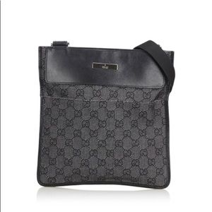 Gucci Monogram Cross Body Bag Gray Black